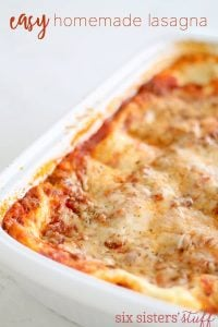 Easy Homemade Lasagna from SixSistersStuff.com