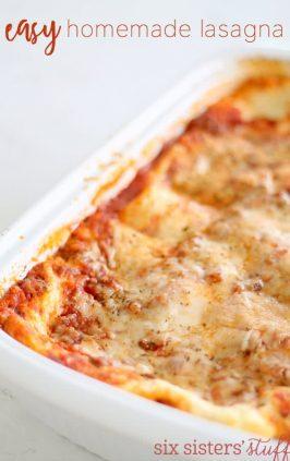 Baking dish of lasagna made from easy lasagna recipe