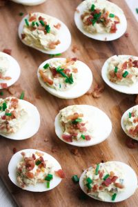 deviled eggs loaded with extras like bacon and cheese