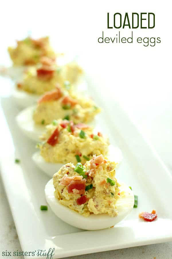 Loaded Deviled Eggs on SixSistersStuff