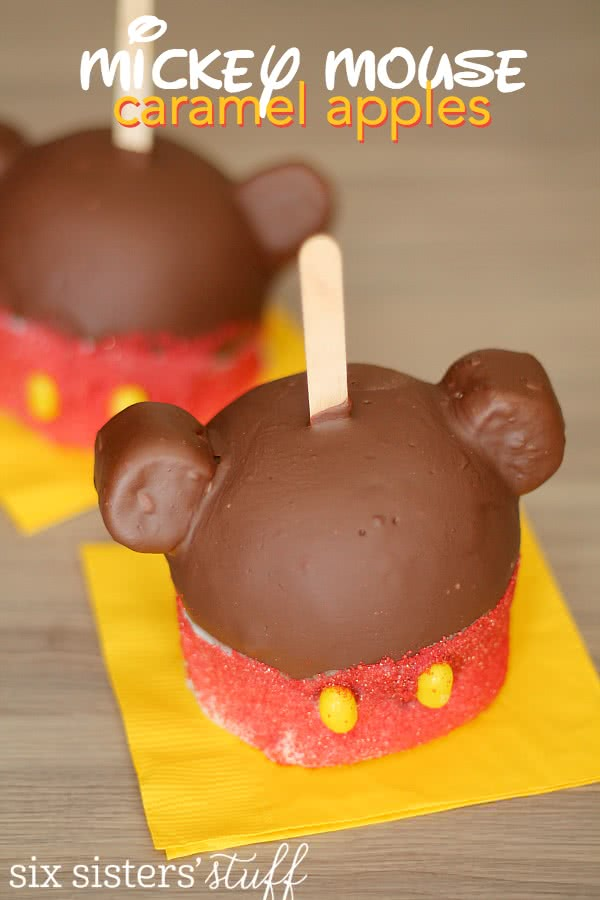 Mickey Mouse Caramel Apples from SixSistersStuff.com