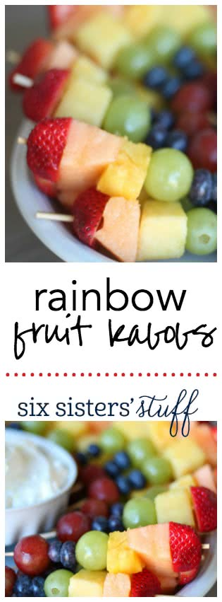 Rainbow Fruit Kabobs from SixSistersStuff.com