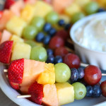 Rainbow Fruit Kabobs with Fluffy Marshmallow Dip from SixSistersStuff.com