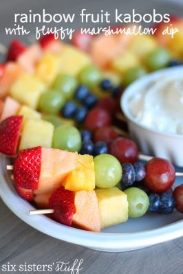 Rainbow Fruit Kabobs with Fluffy Marshmallow Dip Recipe