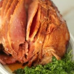 Slow Cooker Maple Glazed Ham from SixSistersStuff.com!  Just 5 minutes prep fo a tasty meal by dinnertime!