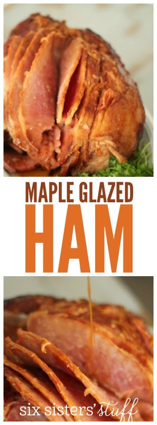 Slow Cooker Maple Glazed Ham from SixSistersStuff.com. So easy to make and SO DELICIOUS!