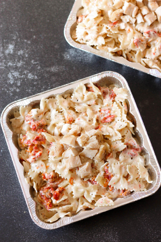 Tuscan Pasta Freezer Meal in disposable freezer pan