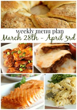 Weekly Menu Plan March 28th- April 3rd
