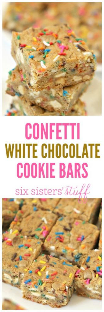 Confetti White Chocolate Cookie Bars from SixSistersStuff