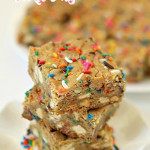 Confetti White Chocolate Cookie Bars on SixSistersStuff