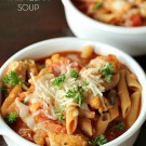 Easy Chicken Parmesan Soup on SixSistersStuff