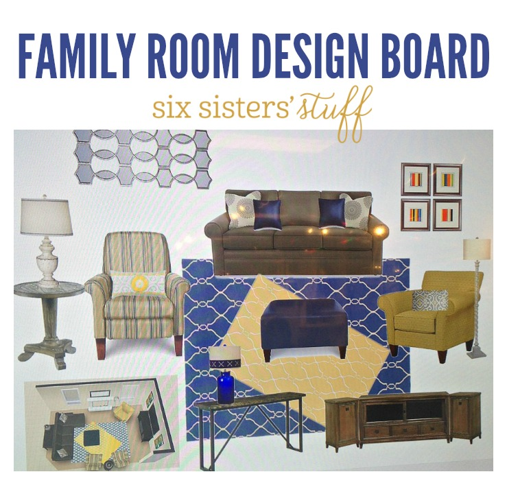 Family Room Design Board on SixSistersStuff