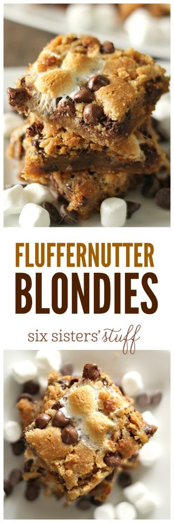Fluffernutter Blondies from SixSistersStuff