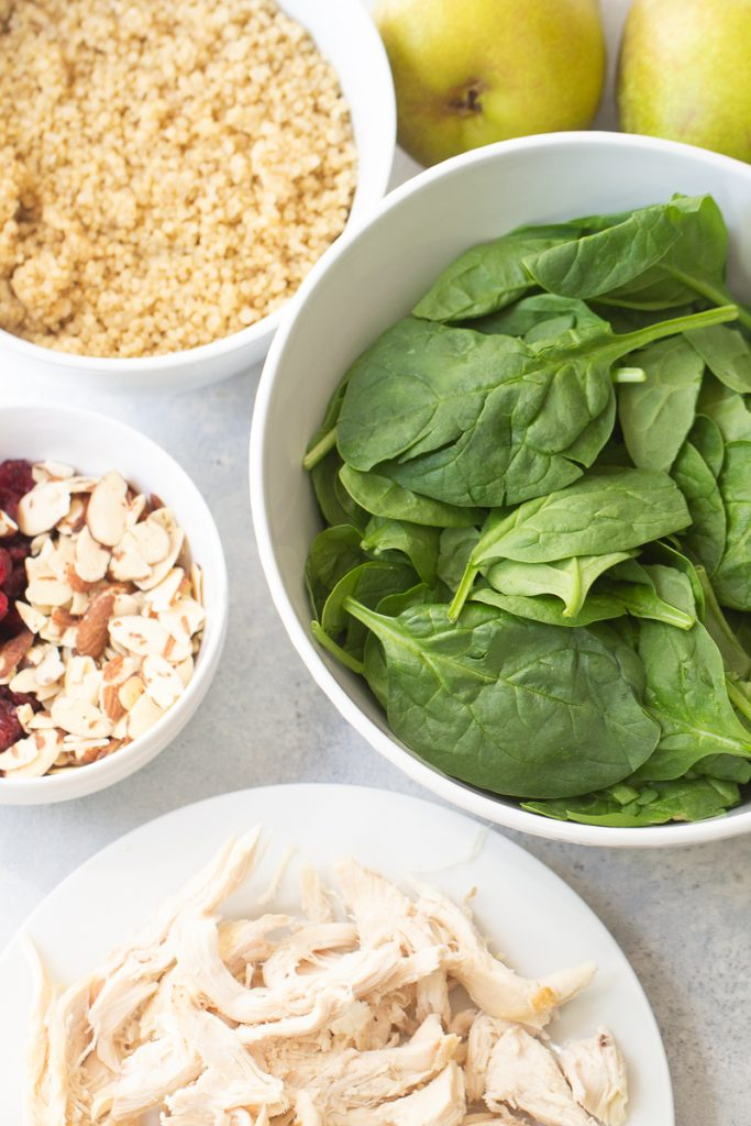 ingredients in chicken and pear quinoa salad
