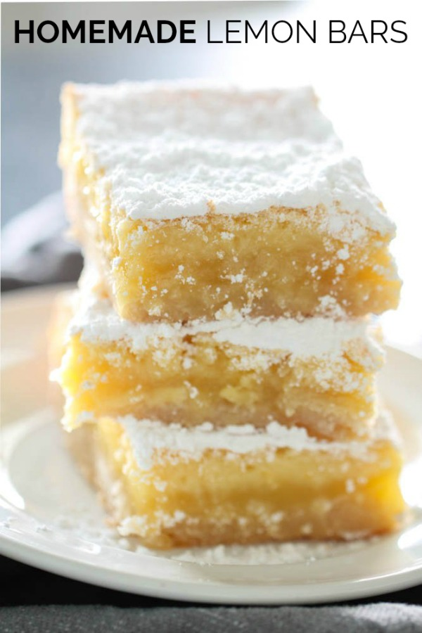 The Best Homemade Lemon Bars stacked