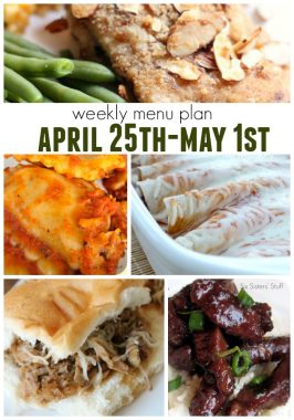 Weekly Menu Plan April 25th- May 1st