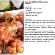 honey chipotle chicken wings