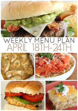 Weekly Menu Plan April 18th-24th