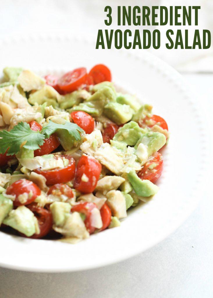 3 ingredient avocado salad with tomato and cilantro