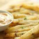 Baked Garlic Parmesan Fries with Spicy Aioli Sauce