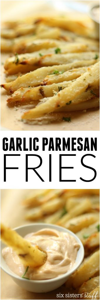 Baked Garlic Parmesan Fries with Spicy Aioli Six Sisters' Stuff