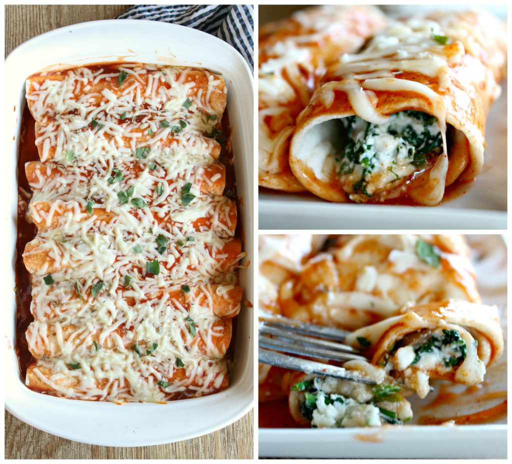 Vegetarian enchiladas with spinach, mushrooms and cheese
