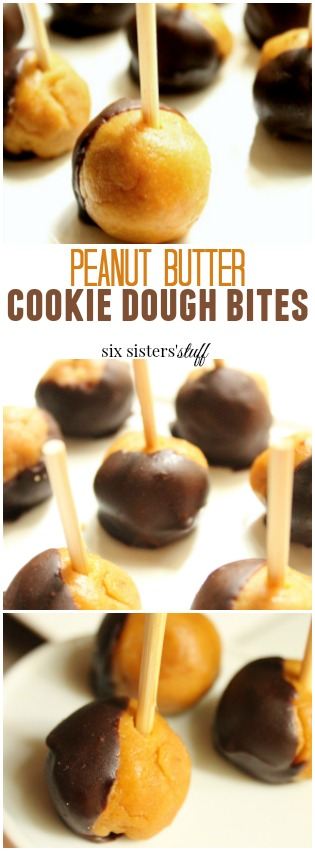 Peanut Butter Cookie Dough Bites from Six Sisters' Stuff pin