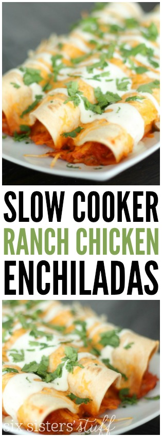 Slow Cooker Ranch Chicken Enchiladas on SixSistersStuff.com