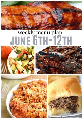 Weekly Menu Plan June 6th-12th