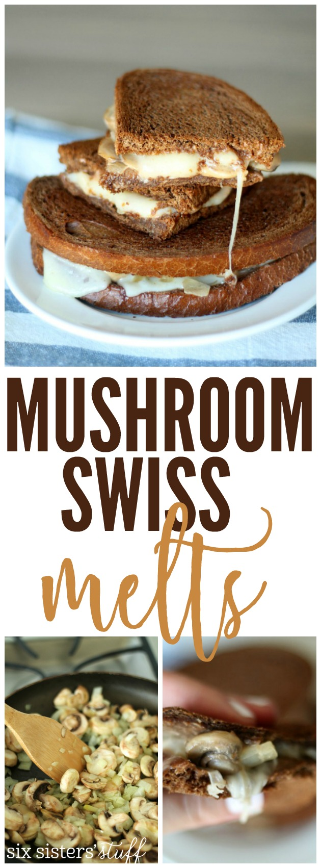 Mushroom Swiss Melts from SixSistersStuff.com. These are so easy to make and SO DELICIOUS!