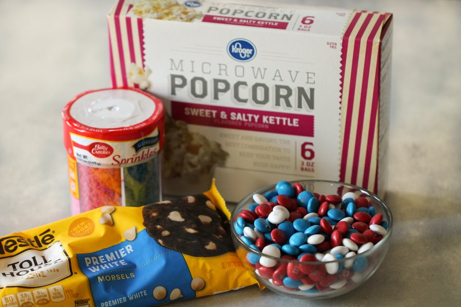 Ingredients for 4th of July Patriotic Popcorn