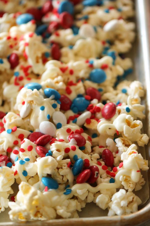 4th of July Patriotic Popcorn on baking sheet