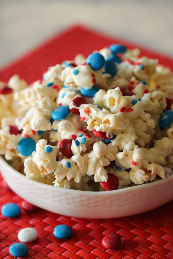 4th of July Patriotic Popcorn in a white bowl