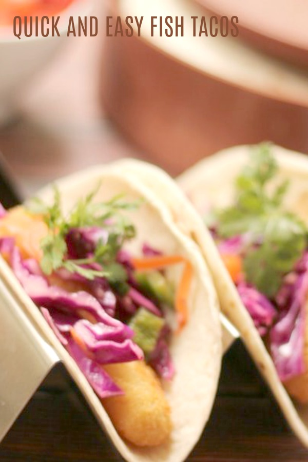 easy fish tacos with red cabbage slaw