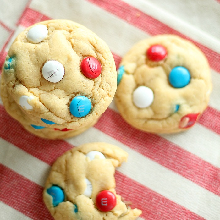 Red, White and Blue M&M Pudding Cookies