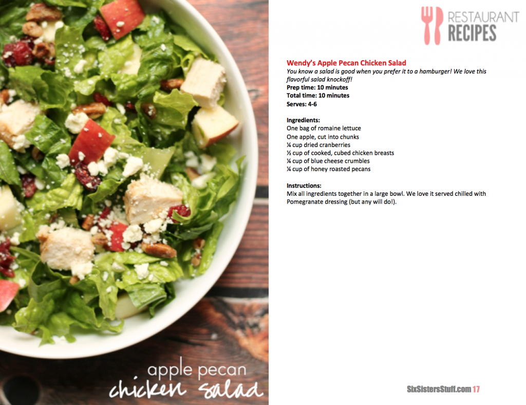Wendy's Apple Pecan Salad eCookbook