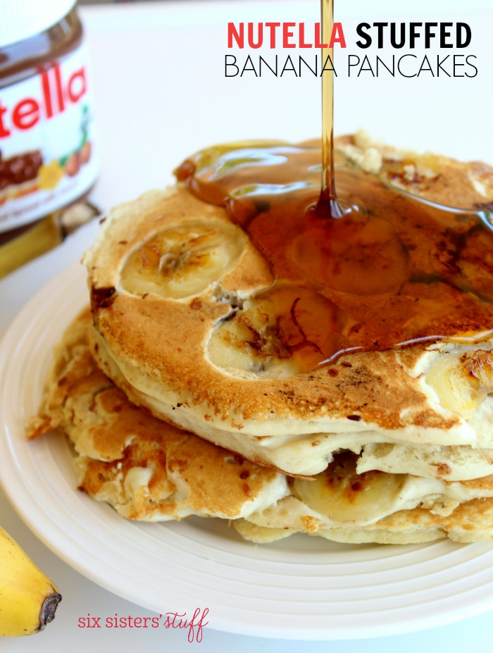 Nutella Stuffed Banana Pancakes | Six Sisters' Stuff