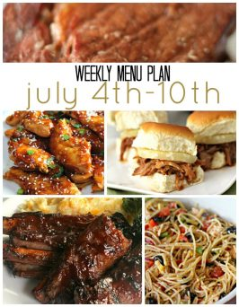 Weekly Menu Plan July 4th-10th