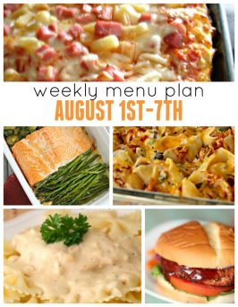 Weekly Menu Plan August 1st-7th