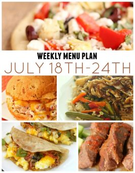 Weekly menu Plan July 18th-24th