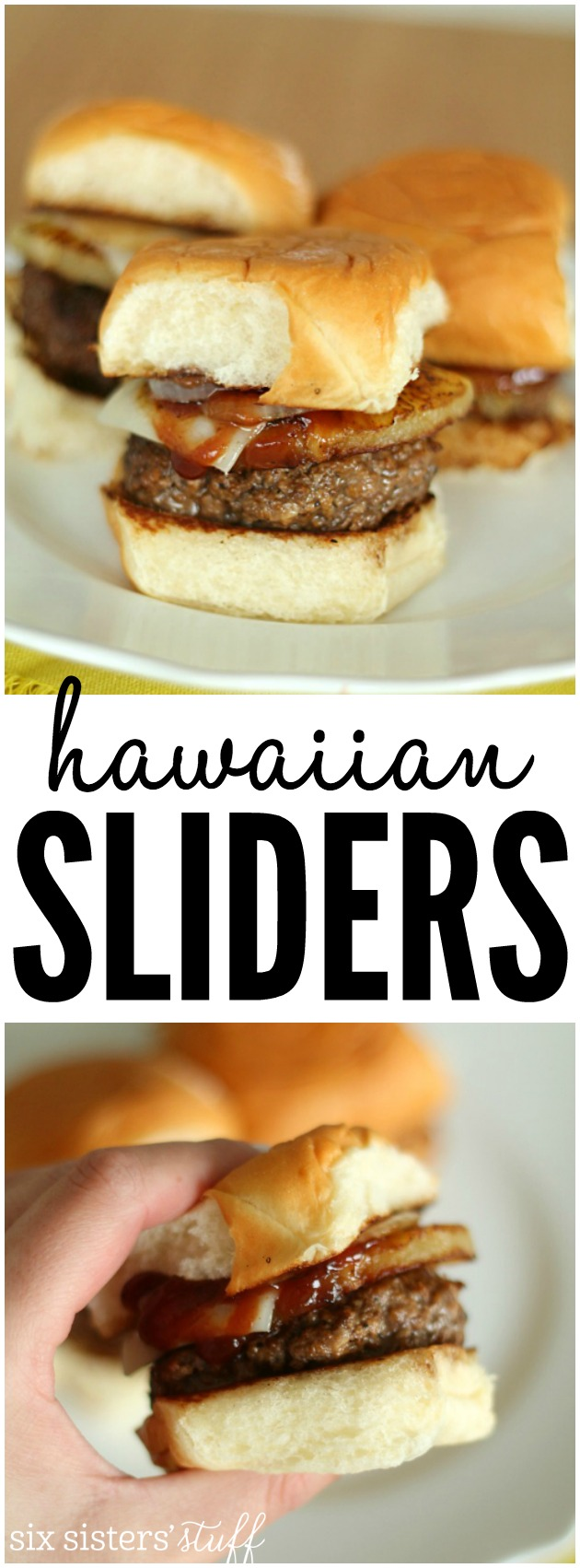 Delicious Hawaiian Hamburger Sliders from SixSistersStuff.com