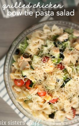 chicken pasta salad with bow tie pasta in serving dish