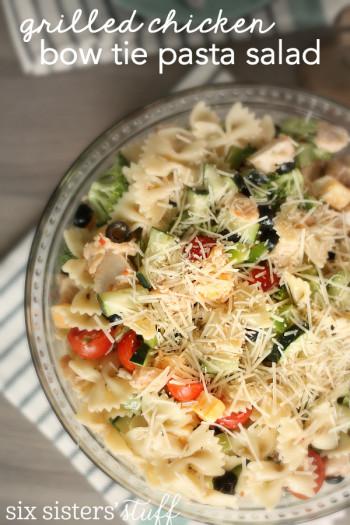 chicken pasta salad with bow tie pasta in serving dish