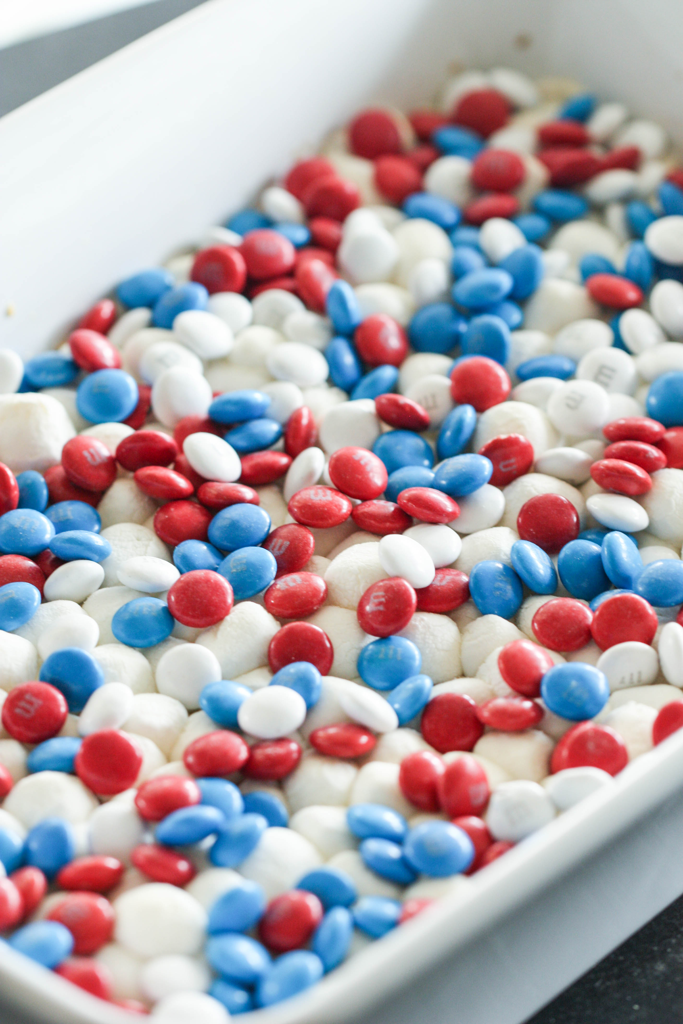 Red White and Blue M&M's for the top layer