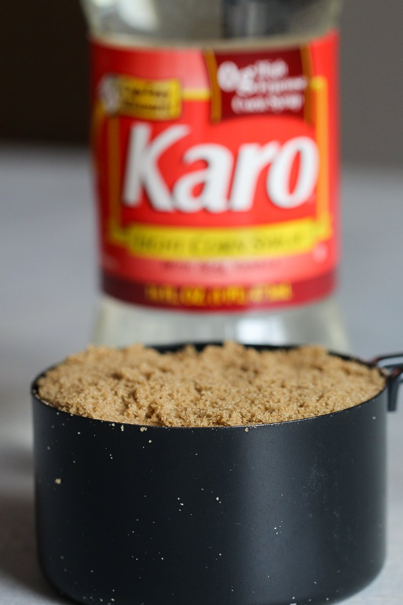 Image of brown sugar and karo syrup for no bake peanut butter kiss cookies.