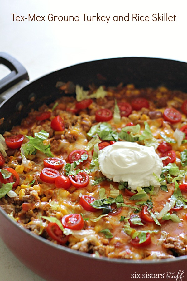 Tex Mex Ground Turkey and Rice Skillet on SixSistersStuff