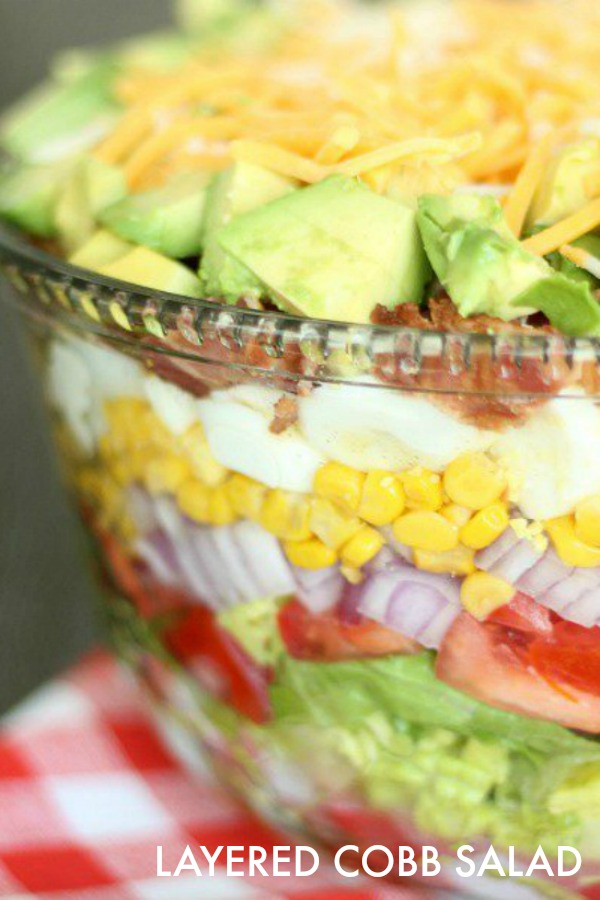 how to make cobb salad beautifully layered in glass dish