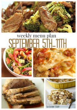Weekly Menu Plan September 5th – 11th
