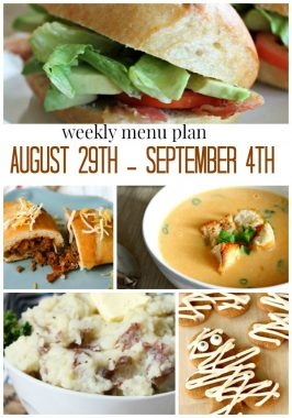 Weekly Menu Plan August 29th – September 4th