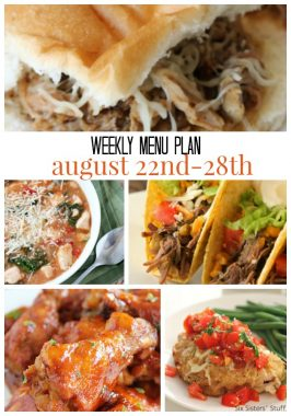 Weekly Menu Plan August 22nd-28th
